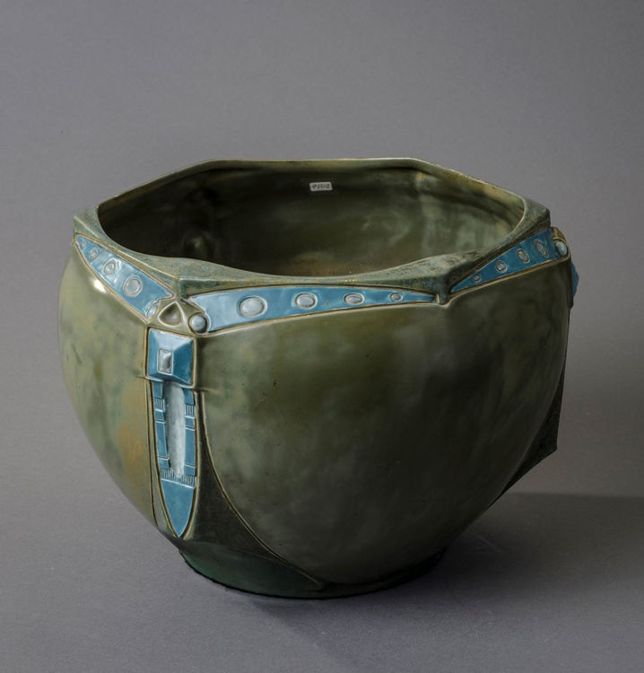 Picture of Large Green Bowl with Green Relief