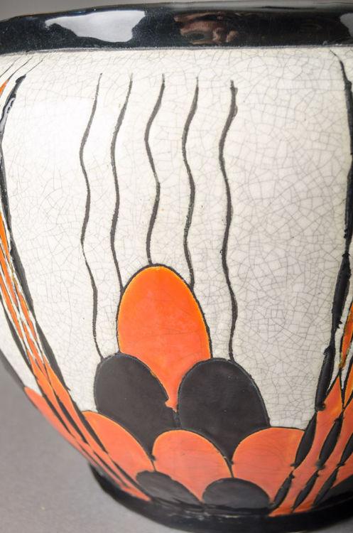 Picture of Orange Black Scalloped Jardiniere
